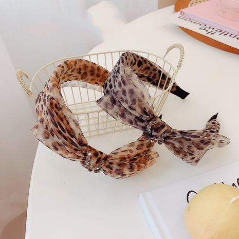new leopard-print headband with diamond knotted fabric South Korea hair bundle wholesale nihaojewelry NHSM233629's discount tags