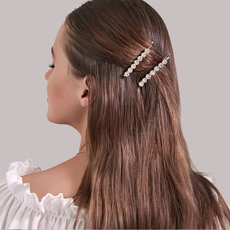 Korean new sweet metal crystal hair clip creative flower clip  wholesale nihaojewelry NHDP233635