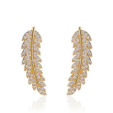 New classic earrings leaf earrings simple micro-set zircon leaf earrings wholesale nihaojewelry NHDP233648's discount tags