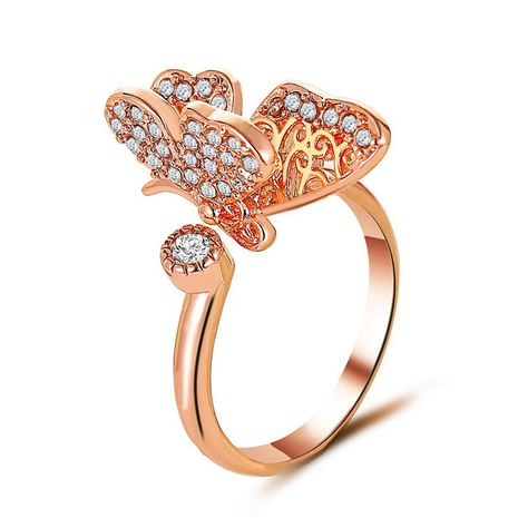 fashion exquisite full diamond open butterfly ring ladies luxury jewelry wholesale nihaojewelry NHDP233654's discount tags