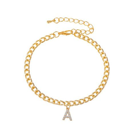 fashion new capital English letter A anklet shiny diamond women's feet chain wholesale nihaojewelry NHDP233658's discount tags