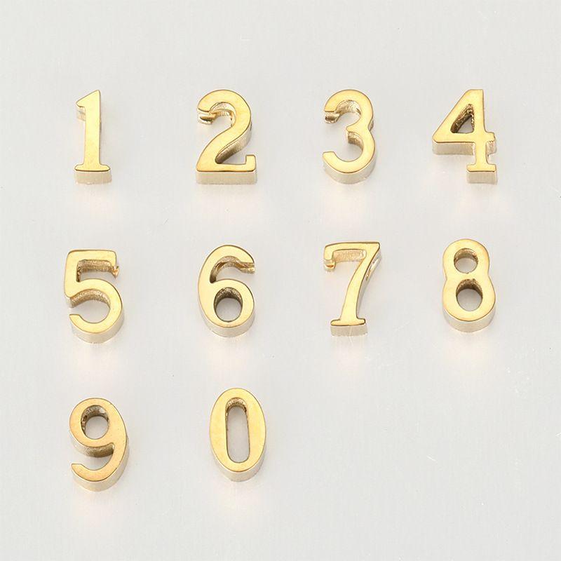 fashion explosion digital DIY accessories pendant 316L titanium steel gold-plated pendant necklace NHTF233937