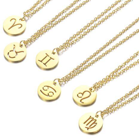 Creux Douze Constellation Pendentif 316L Titane Acier Collier Clavicule Chaîne Collier en gros nihaojewelry NHTF233940's discount tags