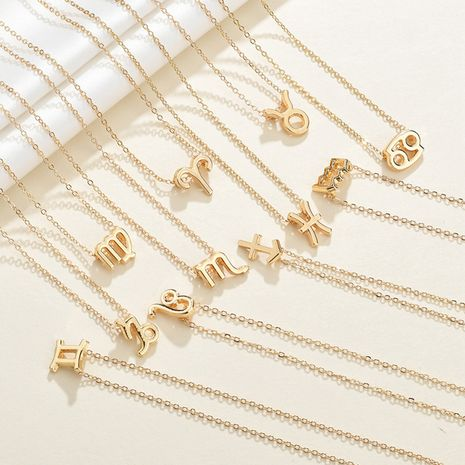 twelve constellation pendants 316L titanium steel gold-plated ladies necklace wholesale distribution wholesale nihaojewelry NHTF233942's discount tags