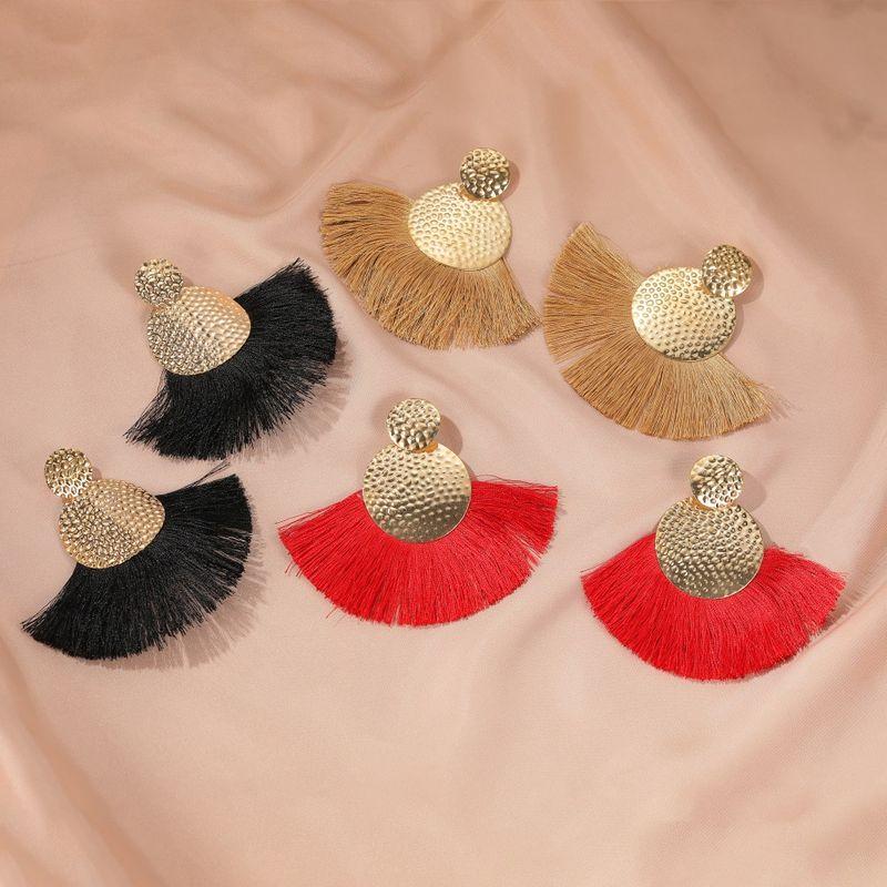 Bohemian earrings handmade fanshaped tassel earrings fashion creative earrings wholesale nihaojewelry NHDP233644