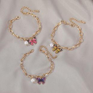 new jewelry dream color butterfly bracelet summer creative pearl thick chain bracelet wholesale nihaojewelry NHDP233659's discount tags