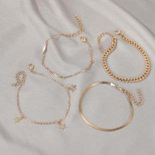 fashion trend five-pointed star suit bracelet punk style multi-layer metal chain bracelet four-piece bracelet set wholesale nihaojewelry NHDP233640's discount tags