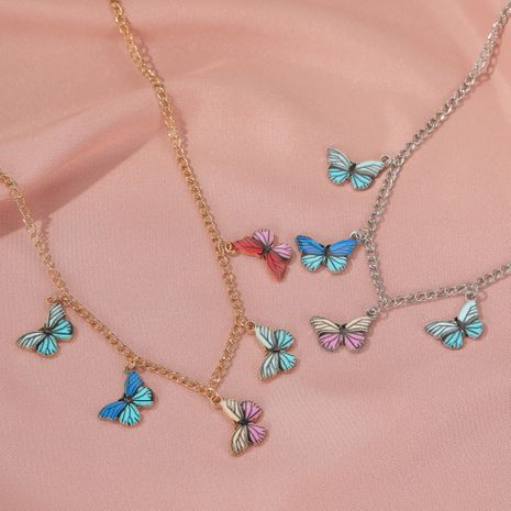 color dream butterfly necklace hot sale fashion retro choker clavicle chain wholesale nihaojewelry NHDP233660's discount tags
