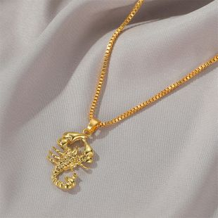 New funds decorated hip-hop style retro hollow necklace imitation gold scorpion pendant sweater chain wholesale nihaojewelry NHDP233652's discount tags