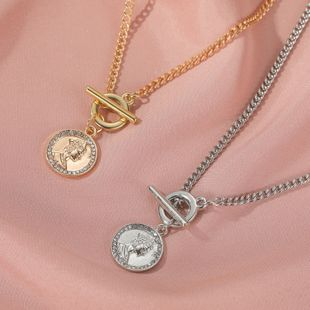 new jewelry short paragraph retro queen head necklace metal texture buckle clavicle chain wholesale nihaojewelry NHDP233650's discount tags