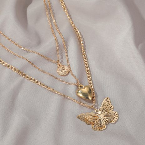 fashion jewelry exaggerated love hollow butterfly necklace fashion long multi-layer ladies sweater chain wholesale nihaojewelry NHDP233646's discount tags