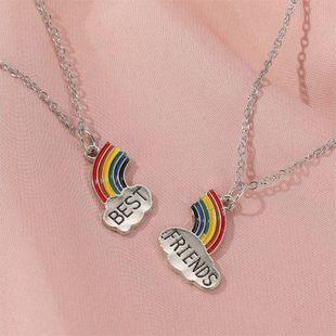 hot sale good friend rainbow necklace best friends petal mosaic necklace cartoon jewelry wholesale nihaojewelry NHDP233643's discount tags