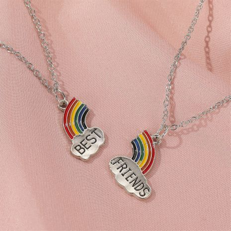 hot sale good friend rainbow necklace best friends petal mosaic necklace cartoon jewelry wholesale nihaojewelry NHDP233643's discount tags