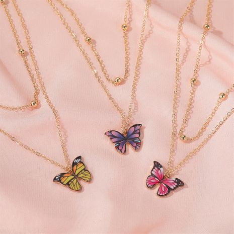 hot sale retro double-layer bead butterfly necklace fantasy color butterfly clavicle chain women NHDP233641's discount tags