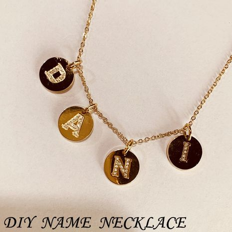 DIY jewelry 316L titanium steel diamond 14K gold plated 26 English alphabet accessories wholesale nihaojewelry  NHTF226602's discount tags