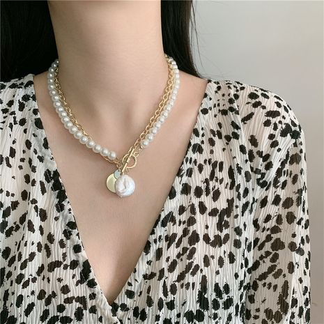 necklace chain pearl stacking double clavicle chain choker collar short neck necklace wholesale nihaojewelry NHYQ233947's discount tags