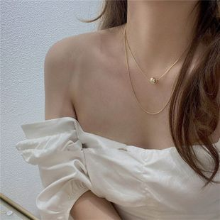 Simple double necklace short round bead necklace clavicle chain neck chain choker wholesale nihaojewelry NHYQ233948's discount tags