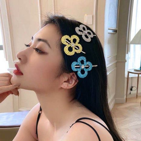 Summer candy color rhinestone bangs clip four petal flower hair clip ponytail wholesale nihaojewelry NHYQ233954's discount tags