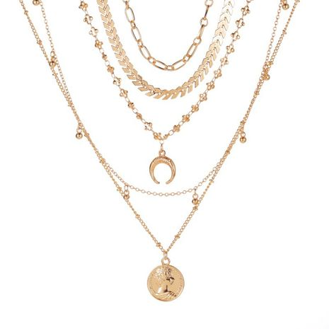 new style Bohemian 5 layer necklace fashion multi-layer gold-plated moon pendant necklace wholesale nihaojewelry NHMO233963's discount tags