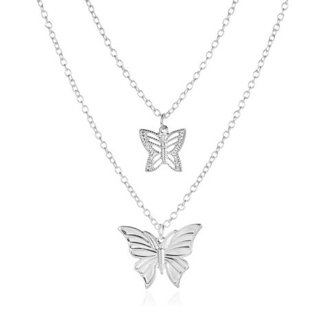 new fashion double butterfly necklace 2 layer hollow butterfly pendant clavicle chain wholesale nihaojewelry NHMO233965's discount tags
