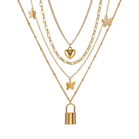 new necklace 4 layer metal butterfly necklace ladies retro love lock multi-layer necklace wholesale nihaojewelry NHMO233967's discount tags