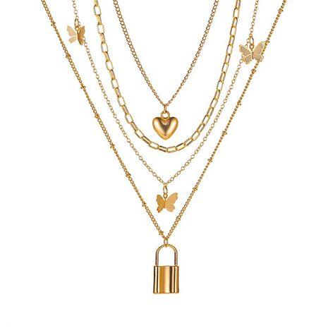 nouveau collier 4 couches métal papillon collier dames rétro amour verrouillage multicouche collier en gros nihaojewelry NHMO233967's discount tags