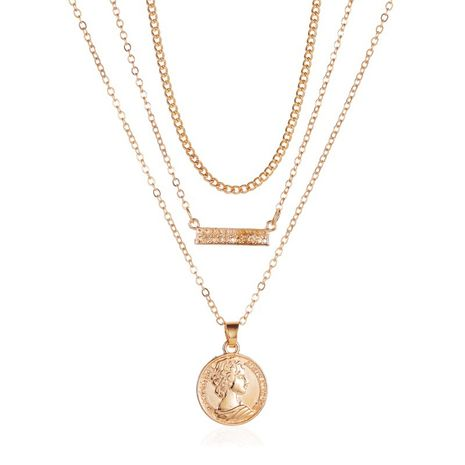 nouveau rétro multicouche collier trois couches disque collier pendentif chaîne en alliage chaîne de clavicule en gros nihaojewelry NHMO233968's discount tags