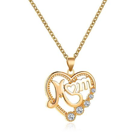 necklace diamond mom heart diamond necklace gift love letter necklace wholesale nihaojewelry NHMO233979's discount tags