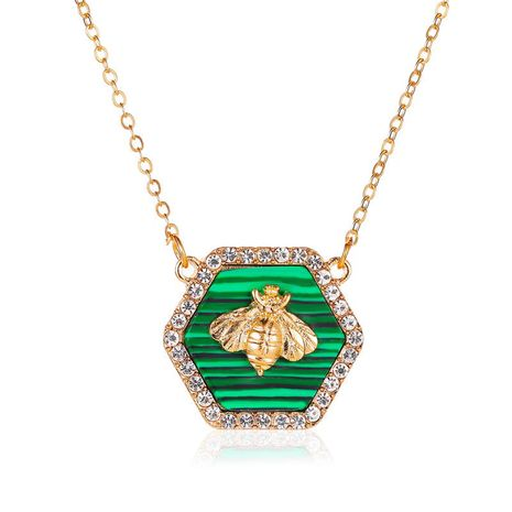 new alloy diamond bee necklace hexagon geometric necklace emerald gemstone clavicle chain wholesale nihaojewelry NHMO233988's discount tags