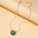 new alloy diamond bee necklace hexagon geometric necklace emerald gemstone clavicle chain wholesale nihaojewelry NHMO233988