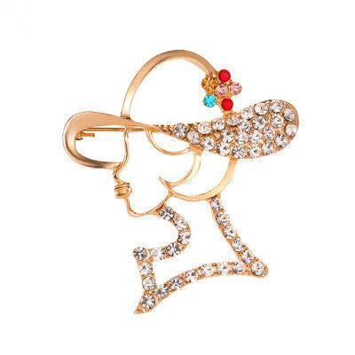 Nueva moda moderna chica broche completo diamante señoras cara hueco broche chal hebilla al por mayor nihaojewelry NHMO233990's discount tags