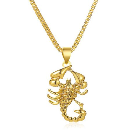 new necklace hipster imitation gold scorpion pendant necklace hip hop style hollow necklace sweater chain wholesale nihaojewelry NHMO234008's discount tags