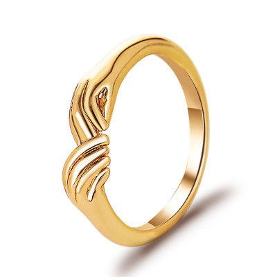 new men and women rings creative three-dimensional index finger ring simple holding hands couple ring wholesale nihaojewelry NHMO234016's discount tags