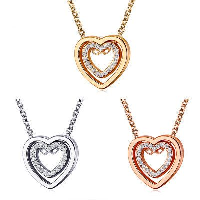 new necklace double love necklace full diamond hollow crystal double heart pendant clavicle chain jewelry wholesale nihaojewelry NHMO234020's discount tags