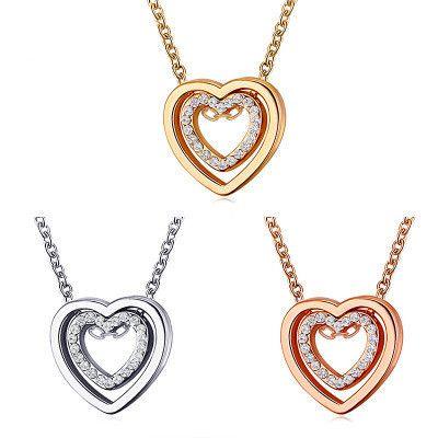 nouveau collier double collier d'amour plein diamant creux cristal double coeur pendentif clavicule chaîne bijoux en gros nihaojewelry NHMO234020's discount tags