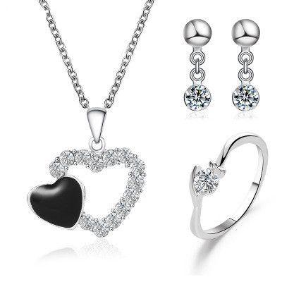 nouvelle mode amour costume simple pêche coeur collier boucles d'oreilles anneau trois pièces diamant ensemble en gros nihaojewelry NHMO234026's discount tags