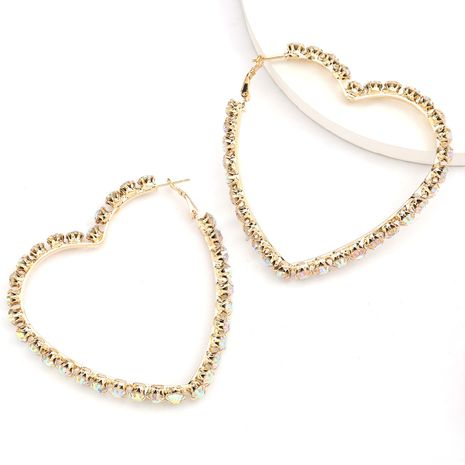 amour en forme de coeur strass plein diamant boucles d'oreilles super flash boucles d'oreilles vente chaude en gros nihaojewelry NHJE234033's discount tags