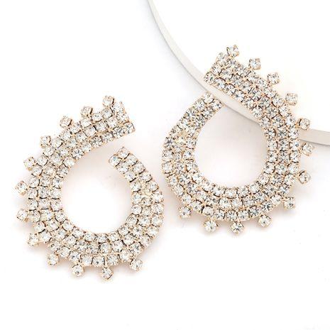 Super flash griffe chaîne série exagéré alliage diamant strass géométrique boucles d'oreilles en gros nihaojewelry NHJE234034's discount tags