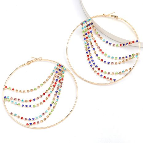 Creative mode rond alliage diamant strass couleur diamant gland boucles d'oreilles en gros nihaojewelry NHJE234035's discount tags