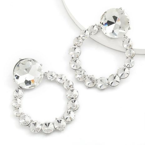 Super flash griffe chaîne série ronde alliage diamant-set verre plein diamant boucles d'oreilles en gros nihaojewelry NHJE234036's discount tags