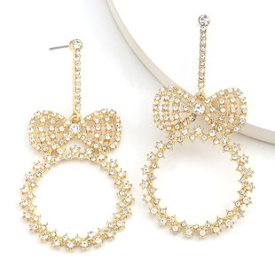 round butterfly combined diamond rhinestone super flash earrings super fairy ear jewelry wholesale nihaojewelry NHJE234037's discount tags
