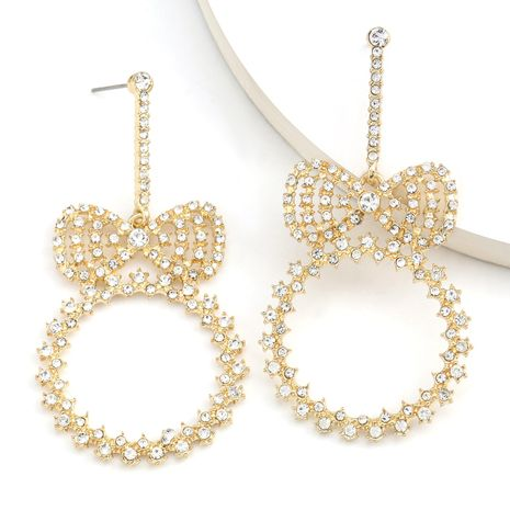 papillon rond combiné diamant strass super flash boucles d'oreilles super fée oreille bijoux en gros nihaojewelry NHJE234037's discount tags