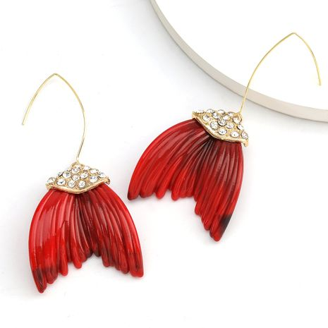 Creative design sense alloy diamond wings resin leaves exaggerated earrings trend earrings wholesale nihaojewelry NHJE234038's discount tags