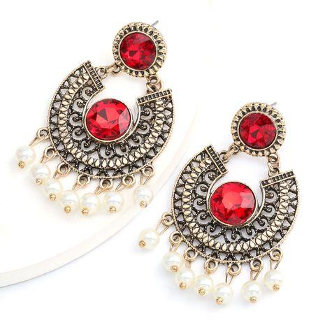 arc alliage rétro en verre sculpté diamant perle boucles d'oreilles gland bohème style ethnique en gros nihaojewelry NHJE234040's discount tags