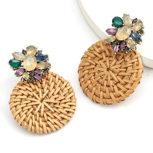 hot sale alloy diamond round rattan braided earrings retro earrings bohemian ethnic style wholesale nihaojewelry NHJE234041's discount tags