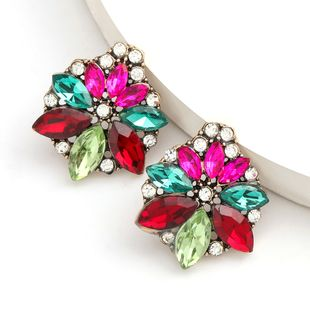 Fashion color diamond series alloy diamond-set rhinestone flower earrings trend earrings wholesale nihaojewelry NHJE234044's discount tags