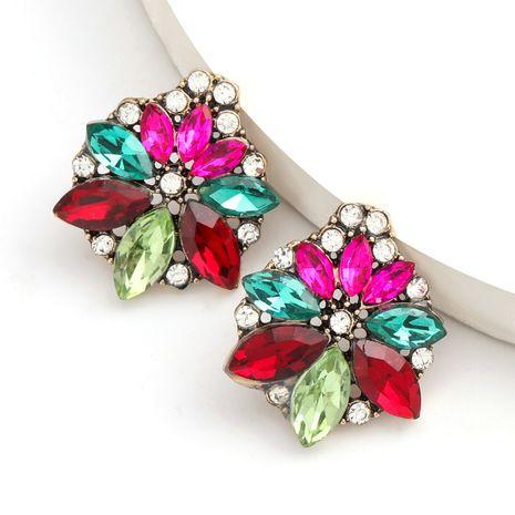 Mode couleur diamant série alliage diamant serti de strass fleur boucles d'oreilles tendance boucles d'oreilles en gros nihaojewelry NHJE234044's discount tags