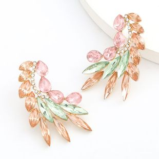 Fashion retro Color Diamond Series Creative Alloy Diamond Rhinestone Leaf Earrings wholesale nihaojewelry NHJE234045's discount tags