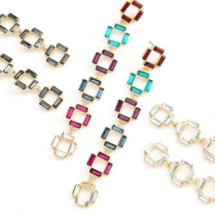 Fashion color diamond series multi-layer small square alloy rhinestone diamond long earrings retro earrings wholesale nihaojewelry NHJE234046's discount tags