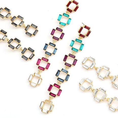 Fashion color diamond series multi-layer small square alloy rhinestone diamond long earrings retro earrings wholesale nihaojewelry NHJE234046's discount tags